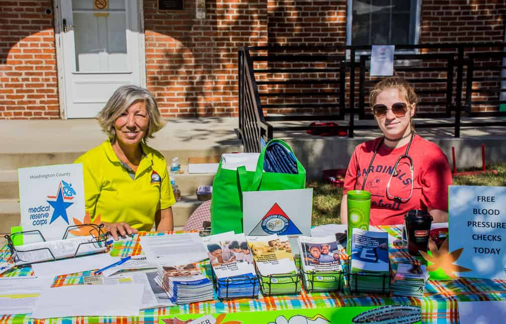 Medical Reserve Corps. Recruiting Drive, in front of the County 911 Office, Linda Drumwright and Heather Stingley.