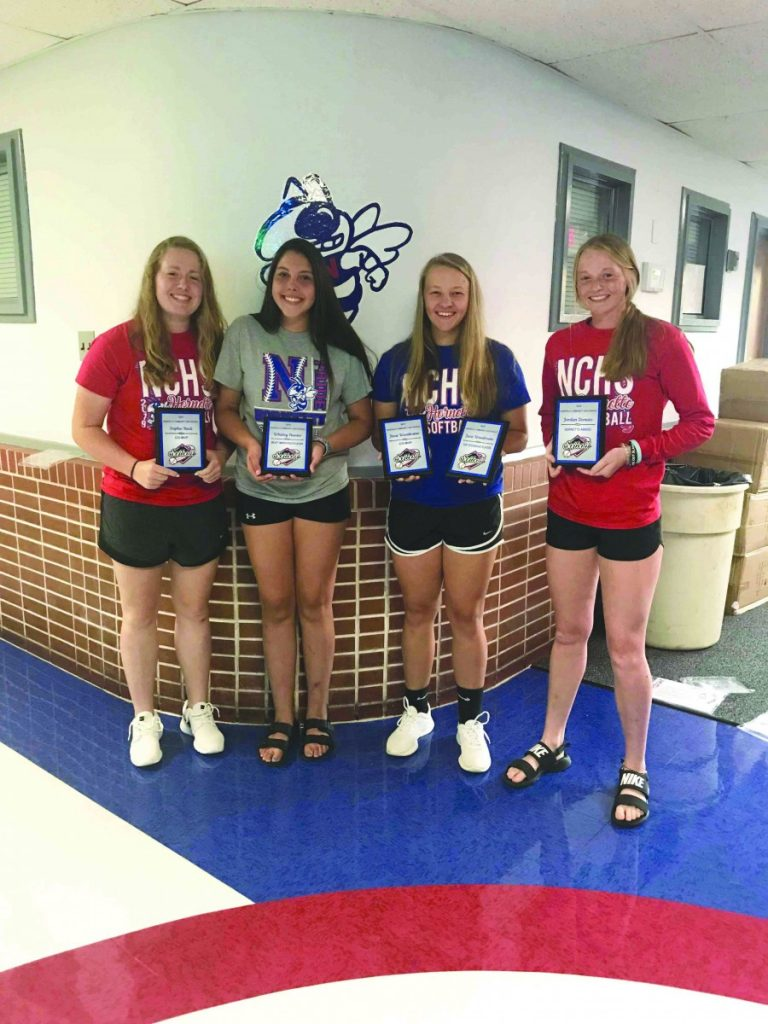 From left to right, Sophie Heck, Whitley Hunter, Josie Woodrome, and Jordan Donato all received awards at the Softball Award Banquet, held on July 31. Not Pictured: Libby Ahlers