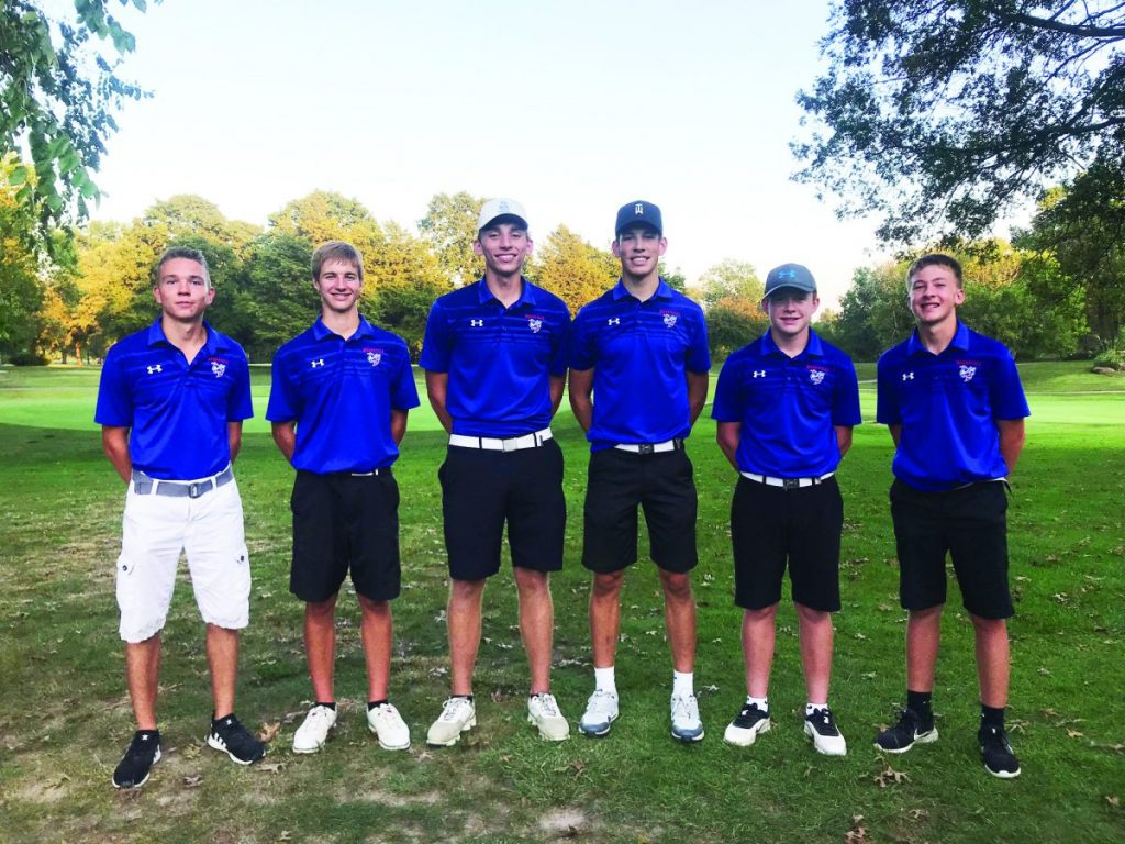 The Hornets boys golf team finished second at the Nashville Invitational on September 12. From left to Right: Austin Kozuszek, Gabe Kreid, Terry Pelczynski, Carson Parker, J.D. Schubert, and Aaron Brink.