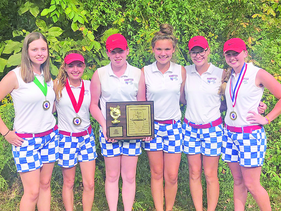 The Nashville Hornettes are conference champions again for the eighth time in the last 10 years. Pictured are team members, from left: Sydney Gordon, Rylee White, Emily Guest, Brooklyne Luessenheide, Grace Ruehl and Ryan Steigman.