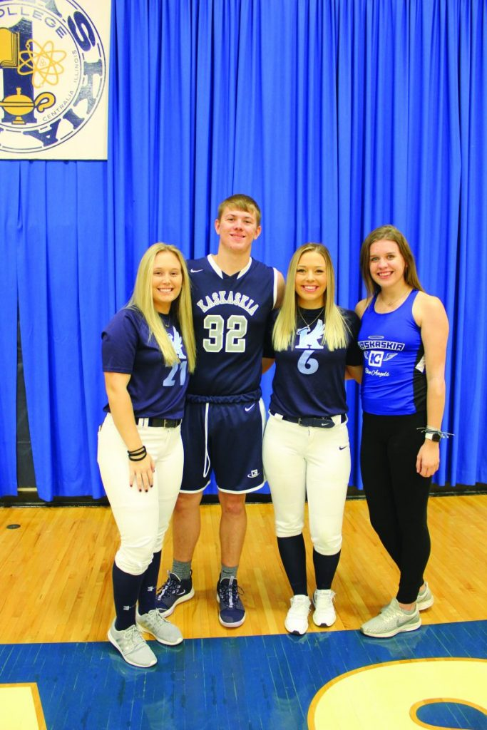 Jordan Stiegman (2018, softball), Tanner Bergmann (2019,basketball) Brooke Burcham, (2018, softball), and Brittnie Bartling (2019, cross country) are all former Hornets who will be competing for Kaskaskia College this season.
