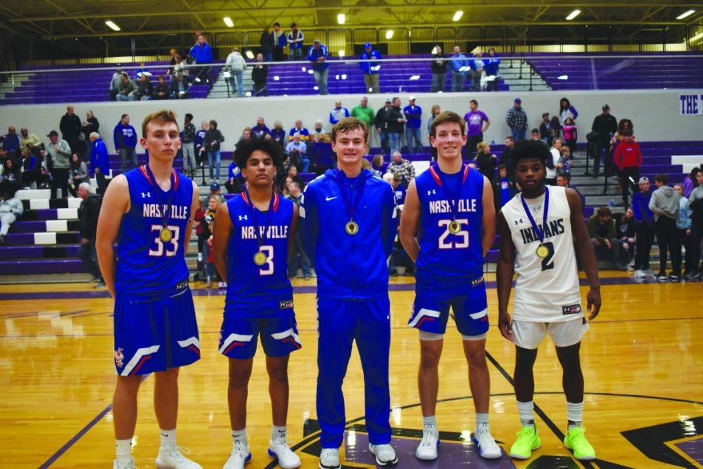 Left, (right to left): Terry Pelczysnki (Nashville),  Tristen Hercules (Nashville,) Jackson Holmes (Columbia), Carson Parker (Nashville), Cedric Rhodes (Mascoutah)