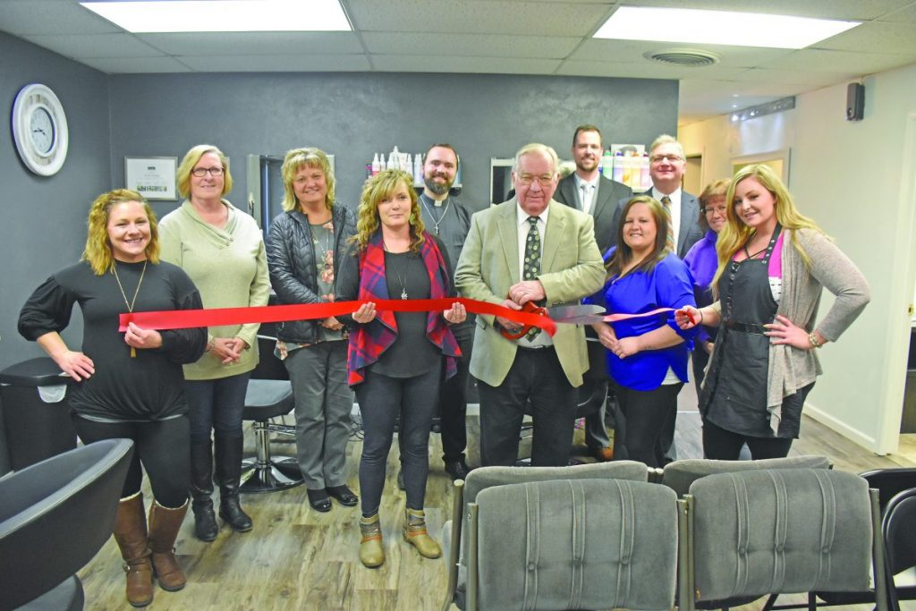 Members of the Nashville Chamber of Commerce celebrated Cut Loose & Teaze on Thursday, January 23, with a ribbon cutting ceremony. The business is located at 256 South Mill Street and is run by Brittany Fields, Sandy Boczek and Jenelle Schempp, who are pictured in the front row with Mayor Raymond Kolweier.