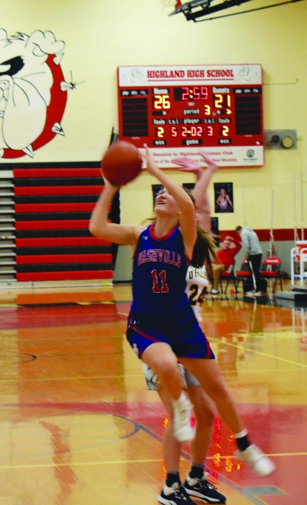Emily Schnitker puts up a shot during the Highland Tournament play last week.