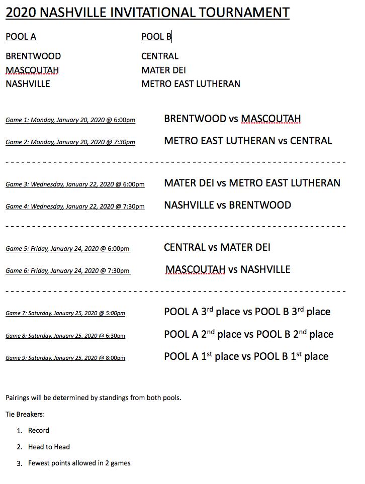 2020 Nashville Invitational Tournament Schedule