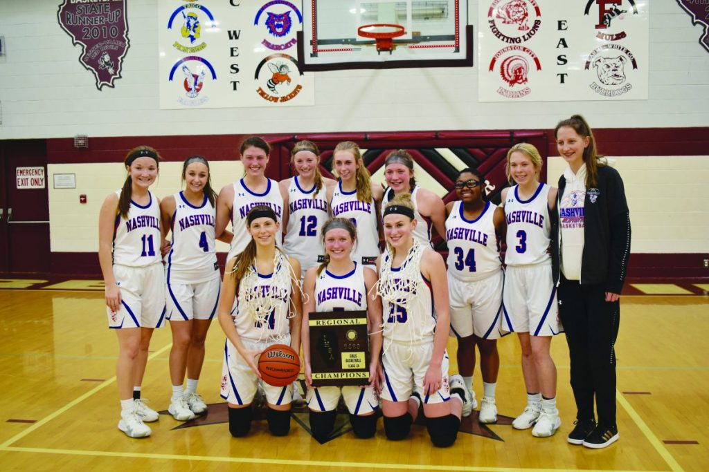 Above: The Hornettes claim their fourth regional title in as many years after beating Pinckneyville on Thursday. Nashville will play Harrisburg Tuesday at Carterville