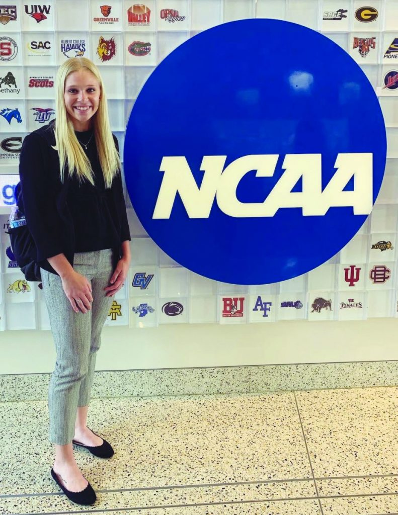 Left: Mackenzie McFeron at the National College Athletic Association (NCAA) Headquarters located in Indianapolis, Indiana this past fall. She was there serving as a replacement for the position she was recently assigned to on the SAAC. McFeron is a 2018 graduate of NCHS and currently attends Evansville University in Evansville, Indiana where she plays softball for the Purple Aces .She will hold her position on the committee from June 1st until May 31st, 2022.