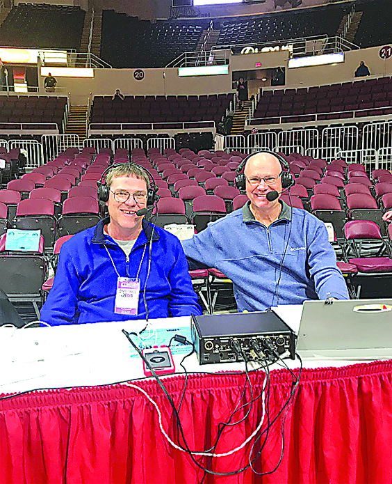 Beefcake McClay and Bo Meyer get set to call a game at the State Tournament. The tandem called games together for 35 years and they have both been enshrined in the Illinois Basketball Coaches Association Hall of Fame.